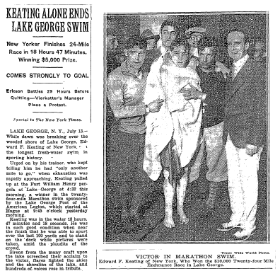 Keating Alone Ends Lake George Swim - July 13, 1927 - New York Times